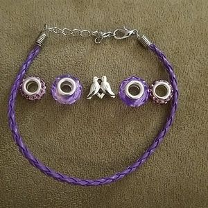 Jewelry - *2/$5* NWOT Purple Beads and Bracelet Cord